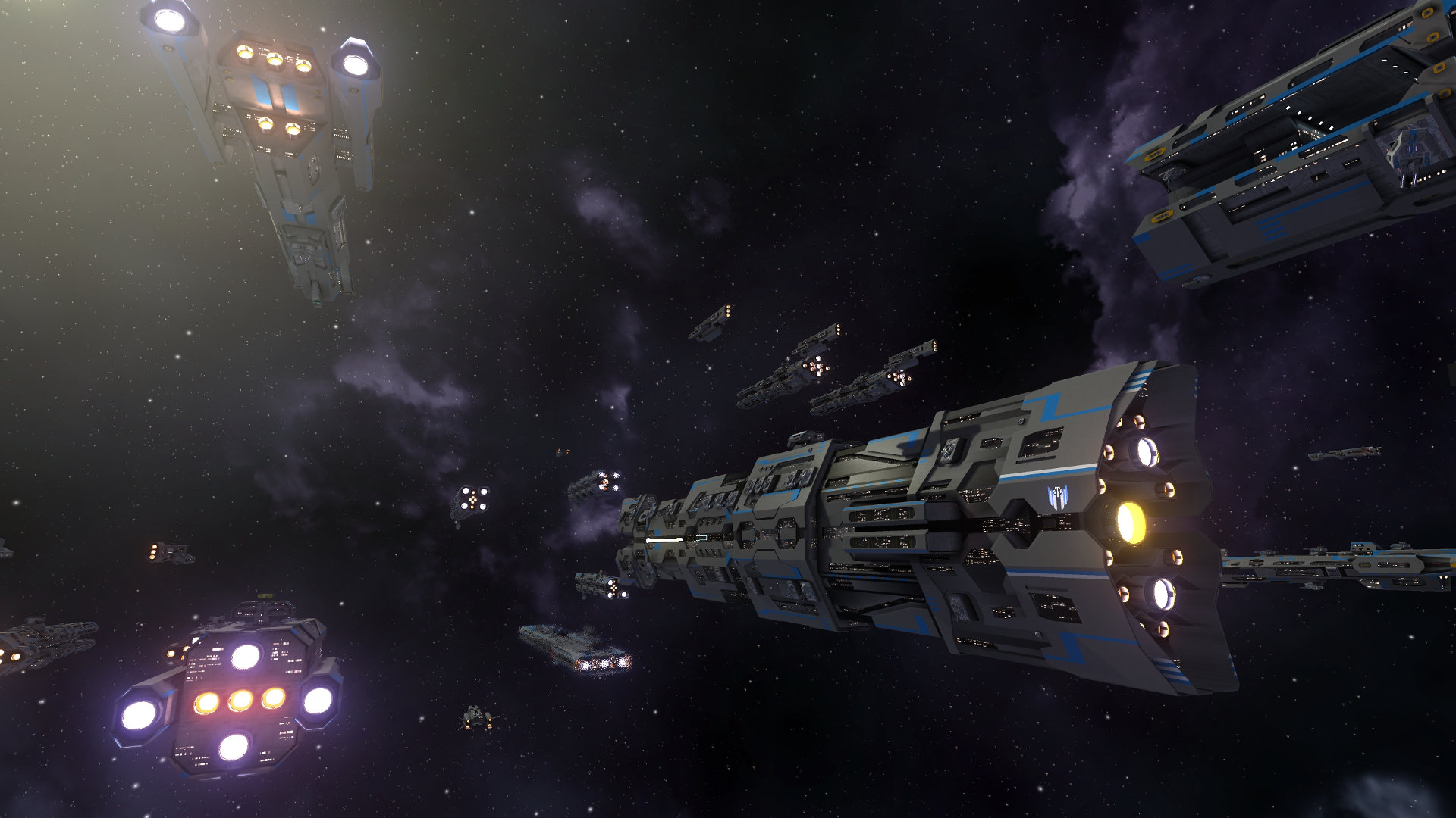 Two large ships flying next to each other